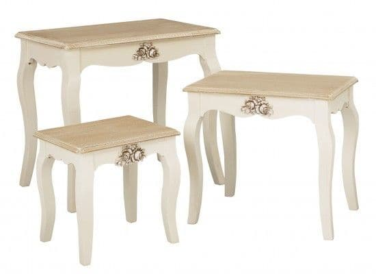 Rennes Soft White And Cream Nest Of Tables 17LD382